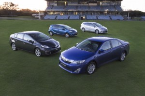 Image: Toyota's hybrid family - Camry, Prius, Prius c and Prius v - has topped 50,000 sales in Australia.