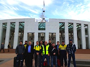 Power to the ports: AMWU shipbuilding delegates and officials outside Parliament House.