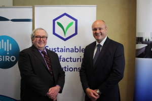 Prof. Milton Hearn and Manufacturing Minister David Hodgett