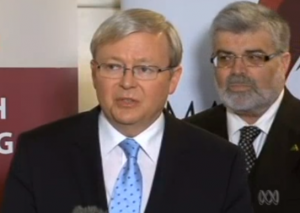 Prime Minister Rudd and Innovation Minister Kim Carr Screenshot from video courtesy of ABC