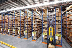 Australian made high density, narrow-aisle pallet racking installation Image courtesy of press release