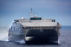 USNS Spearhead (JHSV 1), the innovative high-speed catamaran transport ship under construction by shipbuilder Austal in Mobile, Alabama, successfully completed Builder's Sea Trials (BST) on April 19 2012 in the Gulf of Mexico. Image copyright: Austal