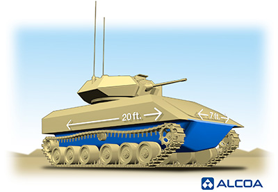 Alcoa and US Army to develop single-piece aluminum hull for better defence against explosive devices