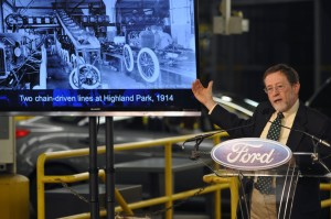 "Bob Casey, former curator, The Henry Ford Museum, and author, ""The Model T: A Centennial History,"" helped celebrate the 100th anniversary of the moving assembly line at the Ford Michigan Assembly Plant. Photo by: Sam VarnHagen/Ford Motor Co."