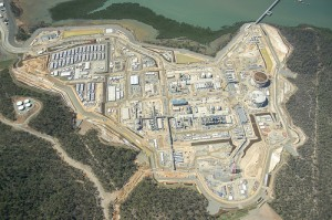 An aerial view of Santos GLNG's LNG plant at Curtis Island, Gladstone Image credit: flickr User: santosglng