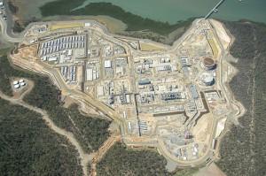An aerial view of Santos GLNG's LNG plant at Curtis Island, Gladstone Image credit: flickr User: santosglng