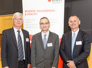 From left: Pro Vice-Chancellor, Science, Engineering and Health and Vice-President, Professor Peter Coloe, Thierry Collet and Professor Aleksandar Subic. Image: RMIT news release