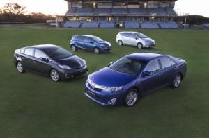 Image: Toyota's hybrid family – Camry, Prius, Prius c and Prius v