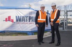 Image credit: www.ansto.gov.au Hon. Ian Macfarlane MP, the Minister for Industry (Left) and Watpac Construction's NSW State Manager, Ric Wang (right) on site  at ANSTO's Lucas Heights campus