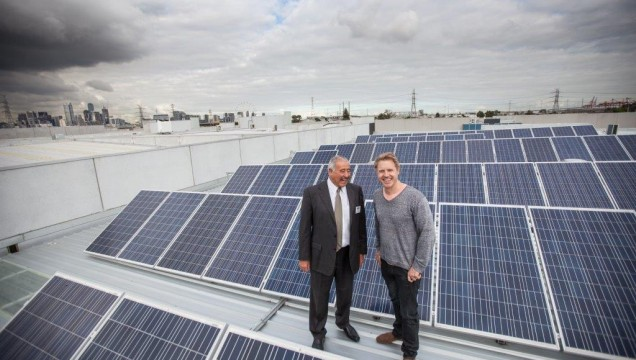 Mr. Antonious met with Councillor Arron Wood who himself lives in Kensington and has solar on his own home. The two community leaders hit it off immediately and Mr. Antonious took Cr. Wood up to the roof for a closer look at the 20 kilo watt installation. Image credit: www.sustainablemelbournefund.com.au