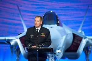 Royal Australian Air Force Air Marshal Geoff Brown delivers his remarks at the roll out ceremony for Australia's first F-35. Lockheed Martin Photo by Beth Groom.