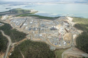 An aerial view of Santos GLNG's liquefied natural gas (LNG) plant on Curtis Island off Gladstone where construction continues to progress Image credit: flickr user: Santos GLNG