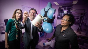 From left: Professor Julie Steele, Professor Gordon Wallace and Dr Sheridan Gho with the 'smart yarn' used to create the Bionic Bra. Image credit: UOW