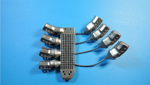 Back of 3D printed titanium sternum and ribs Image credit: CSIRO