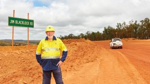 Jim Blacklock from Alcoa's Huntly mine reflects on the company's milestone on the road named in his honour. Image credit: Alcoa