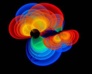 A simulation of black holes merging Image credit: www.csiro.au