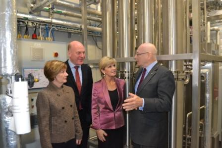 Foreign Minister Julie Bishop tours Phebra's manufacturing plant at Lane Cove West