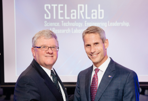 Raydon Gates, Chief Executive, Lockheed Martin Australia New Zealand and Dr. Keoki Jackson, Lockheed Martin's Chief Technology Officer announce the establishment of STELaR Lab to undertake R&D to solve the technology challenges of the future, and work in the art of the possible. Image credit: lockheedmartin.com