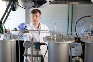 Director of CSIRO's new FloWorks Centre of Industrial Flow Chemistry, Dr. Christian Hornung works on an industrial scale reactor at the Centre.  Image credit: www.csiro.au