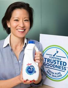 MsJacqueline Chow with the new Trusted Goodness™ quality seal. Image credit: www.fonterra.com